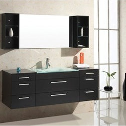 "Virtu USA - Virtu USA Columbo 63"" Single Sink Bathroom Vanity - Espresso - The Colombo vanity set is on the cutting edge of modern bathrooms. The design intersects beauty and functionality. The tempered glass basin highlights and contrasts the Espresso finish. Drawers and shelves provide abundant storage. The cabinet is constructed utilizing eco-friendly solid rubberwood. Luxury soft closing mechanisms are equipped with every drawer. A lifetime warranty faucet is included with the set. We must admit, the Colombo vanity is simply gorgeous and will make an incredible statement in any bathroom design. FeaturesMain Cabinet: 63"" W x 21.8"" D x 24.2"" HMirror with : 47"" W x 29.5"" HSolid RubberwoodIntegrated Tempered Glass Basin-countertopEspresso Finish Water Resistant Low V.O.C SealerEco-Friendly Solid Rubber Wood ConstructionAdjustable slides8 Doweled Drawers with Concealed Soft Closing Slides2 Mirror Cabinets with Glass ShelvesBrushed Nickel HardwarePS-103 Faucet with Pop Up and Drain Assembly IncludedCUPC, UPC and IAPMO Certified Faucet with Limited Lifetime WarrantyLead-Free Faucet compliant with AB1953 and S152 Eco-Friendly WaterSense certified 1.5 GPM flow rateMinimal Assembly RequiredAssembly RequiredVirtu 2 Year WarrantyVirtu USA reserves the right to repair, replace or refund any products resulting from a manufacturer's defect.How to handle your counter View Spec Sheet"