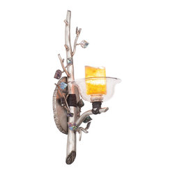 Kalco Lighting - Kalco Cottonwood 1-Light  Wall Bracket - Shown in Aged Silver finish. The Cottonwood Collection was inspired by it's namesake tree. The metal branches of the fixture's arms are available in two of Kalco's warm metal finishes while the blooms of light are available in either Kalco's Calcite shade or Hand-painted Art Glass. Although each of the customizable options are very different, their union always sophisticatedly rustic. Overall size is 6.875 in. W x 4.88 in. D 21.5 in. H.