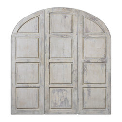 Uttermost - Tribunali Ivory Wall Panels Set of 3 - These decorative, oversized wall panels feature a heavily distressed, aged ivory finish.