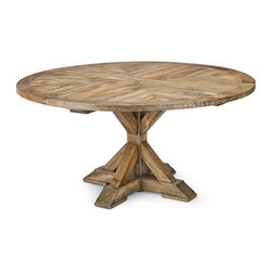 """Regina Andrew - Regina Andrew Parquet Round Dining Table - A parquet top creates beautiful dimension on this round dining table by Regina Andrew. Warm and welcoming, its modern rustic design intrigues with an architectural pedestal base. 64"""" Dia x 30""""H. Mango wood."""