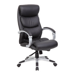 """Boss - Hinged Arm Executive Chair With Synchro-Tilt - Beautifully upohlstered in ultra soft, durable and breathable black CaressoftPlusG��. Hinged arms with padded arm rests. 2 to 1 synchro-tilt mechanism with adjustable tilt tension control. Seat tilt allows the seat to lock in any position throughout the tilt range. Pneumatic gas lift seat height adjustment. 27"""" nylon base with black end caps. Hooded double wheel casters.; Features: Fabric: CaressoftPlus; Cushion Color: Black; Frame Color: Silver; Capacity: 250 lbs.; Dimensions: Seat Size: 20""""W X 20.5""""D; Seat Height: 18.5""""-22""""H; Arm Height: 27""""-30""""H; Overall Size: 28""""W X 27""""D X 44""""-46.5""""H"""