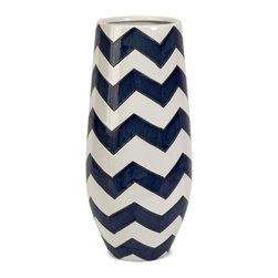 Blue and White Chevron Short Vase - *Chevron is a classical graphic pattern getting an updated push with new color combinations.