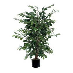 Vickerman 4 ft. Ficus Silk Bush - The Vickerman 4 ft. Ficus Silk Bush gives you the look of a full, robust ficus without the fuss. It comes with natural wood trunks and has lush greenery made of silk for an authentic look and feel. This faux ficus bush is sturdy enough to dress up your indoor living space.About VickermanThis product is proudly made by Vickerman, a leader in high quality holiday decor. Founded in 1940, the Vickerman Company has established itself as an innovative company dedicated to exceeding the expectations of their customers. With a wide variety of remarkably realistic looking foliage, greenery and beautiful trees, Vickerman is a name you can trust for helping you create beloved holiday memories year after year.