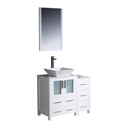 "Fresca - Fresca Torino 36"" White Vanity w/ Side Cabinet & Sink - Dimensions of vanity:  36""W x 18.13""D x 35.63""H. Dimensions of mirror:  20.75""W x 31.5""H x 1.25""D. Materials:  Plywood w/ veneer, ceramic sink. Single hole vessel faucet mount. P-trap, faucet, pop-up drain and installation hardware included.  Fresca is pleased to usher in a new age of customization with the introduction of its Torino line.  The frosted glass panels of the doors balance out the sleek and modern lines of Torino, making it fit perfectly in either town or country decor.  Available in the rich finishes of Espresso, Glossy White, Light Oak and Walnut Brown."