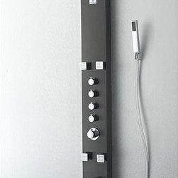 Fresca - Fresca Pavia Grey Thermostatic Shower Massage Panel - Bring therapeutic massage to your home shower with this Fresca Pavia grey-finished stainless steel massage panel. The four jets and additional hand shower included in this massage panel brings ultimate relaxation to your home.
