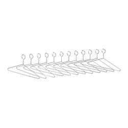 "Safco - Extra Hangers for Shelf Racks - Chrome - Lots of coats to accommodate? Get extra hangers with a safe and sound non-removable design. Packed 12 per carton.; Features: Material: Steel; Color: Chrome; Finished Product Weight: 0.25 lbs.; Assembly Required: No; Limited Lifetime Warranty; Dimensions: 17""W x 8""D x 0.0125""H"