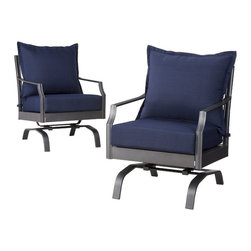Threshold™ Harper 2-Piece Metal Patio Motion Club Chair Set - Welcome your guests to a relaxing outdoor space with Threshold Harper Patio Motion Club Chairs. These patio chairs have a classic shape, bold styling and an elegant pattern. They give you plenty of room to unwind, smooth swivel motion and comfy cushions that resist water, spills and fading. Plus, they're made with durable steel and aluminum that both resist rust.