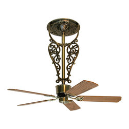 """Fanimation FP420AB Americana Antique Brass Ceiling Fan - Fanimation FP420AB Americana Antique Brass Ceiling Fan*Collection: Americana*Blade: 18"""" Oak/Walnut*Blade Sweep: 44"""" to 80""""*Weight: 41.3*Dry Location*Lifetime Warranty"""