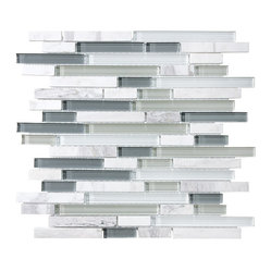 10 Square Feet - Bliss Iceland Random Strip Glass and Marble Mosaic Tiles