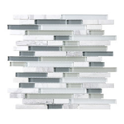 Rocky Point Tile - 10 Square Feet - Bliss Iceland Random Strip Glass and Marble Mosaic Tiles - Grays and whites blend together to create an icy cool mosaic that adds a clean, fresh look to your kitchen or bath. The varying marble mosaic blocks beautifully complement marble or granite countertops, but would also look great next to bright red. Versatile and stylish — perfect!