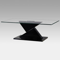 Eli Glass Top Coffee Table with Lacquer Base