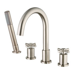 Belle Foret - Belle Foret BFRT300SN Brass Works Roman Tub Faucet with Diverter and Handshower - Belle Foret BFRT300SN Brass Works Roman Tub Faucet with Diverter and Handshower in Satin Nickel - HDModel: FR2DD101SNThe Belle Foret collection includes a full range of kitchen and bath faucets, copper basins, bathtubs, and bath vanities in timeless finishes to perfectly complement any décor. True to the Country French design, these distinctively elegant faucets and fixtures are graced by the rich patina of time - without the wait or expense.This deck mount tub faucet is perfect for your drop-in tub and features a curvaceous, gooseneck spout and sleek, cross handles. The contemporary style hand held shower is especially helpful when bathing kids, pets, or cleaning up.Belle Foret BFRT300SN Brass Works Roman Tub Faucet with Diverter and Handshower in Satin Nickel - HDModel: FR2DD101SN, Features:• Roman Tub Faucet