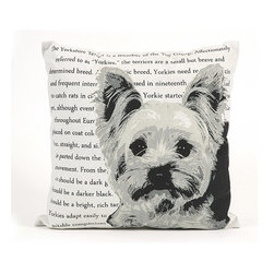 IMAX CORPORATION - Yorkie Heritage Pillow - With a bold black and white Yorkie illustration, this pillow features the heritage and history of this breed in beautiful writing, sure to add a per perfect touch to any home. Find home furnishings, decor, and accessories from Posh Urban Furnishings. Beautiful, stylish furniture and decor that will brighten your home instantly. Shop modern, traditional, vintage, and world designs.