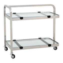 Eichholtz Oroa - Bar Cart Faubourg - Polished stainless steel - clear glass