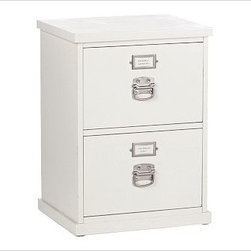 """Bedford 2-Drawer File Cabinet, Antique White - Every piece in our expertly built Bedford Collection can be used singly or combined with others to form a desk, console or wall of storage. The 2-Drawer File Cabinet keeps paperwork organized and within reach. To create a desk set that's ideal for your space, {{link path='/shop/furniture-upholstery/tools-furn/bedford-desk-furniture/'}}click here{{/link}} to view our Bedford Desk Set Tool. 21"""" wide x 17"""" deep x 28.5"""" high Two drawers slide smoothly on heavy-gauge side-mounted glides and are designed to hold both legal- and letter-sized files. Wood swatches, below, are available for $25 each. We will provide a merchandise refund for wood swatches if they're returned within 30 days. View our {{link path='pages/popups/fb-home-office.html' class='popup' width='480' height='300'}}Furniture Brochure{{/link}}."""