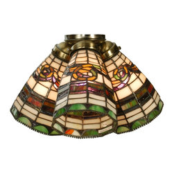 Meyda Tiffany - Meyda Tiffany Edwardian Tiffany Ceiling Fan Light Shade X-81296 - From the Edwardian Collection, the Victorian-era styling of this elegant Meyda Tiffany ceiling fan light shade allows it to become a graceful addition to bedrooms, kitchens and more. The beautiful scroll detailing and banded detailing are complimented by the rich earth tones of the glass paneling. Hand finished in Mahogany Bronze.