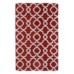 "Kaleen - Kaleen Revolution REV03 (Red) 5' x 7'9"" Rug - The color Revolution is here! Trendy patterns with a fashion forward twist of the hottest color combinations in a rug collection today. Transform a room with the complete color makeover you were hoping for and leaving your friends jealous at the same time! Each rug is hand-tufted and hand-carved for added texture in India, with a 100% soft luxurious wool."