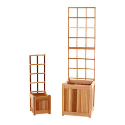 Set of 2 Cedar Wood Planter Boxes with Matching Trellises - Set includes: 2 Each Cedar Wood Planter Boxes with a Matching Cedar Wood Trellis