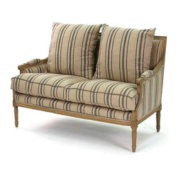 Louis Settee - Natural Oak with Blue Stripe - Blue and khaki stripes on fine English linen bring definition and direction to plump upholstery on the Louis Settee.  The French-derived lines of the frame � geometric, but not devoid of the subtlety and naturalness brought by controlled curves � are expertly crafted in reclaimed elm for a pleasingly natural palette.  Plump cushions with piped edges make the seat and back luxurious.