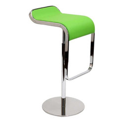Modway - LEM Leather Bar Stool in Green - The LEM Style Bar Stool has sleek lines that would be equally impressive in a restaurant or at home. Our premium version has a high quality Italian leather seat. Perfect for entertaining guests at restaurants, your home bar, or for stylish seating around the kitchen counter.