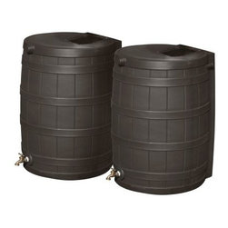 Good Ideas 50-Gallon Oak Recycled Plastic Rain Wizard Flat Back Rain Barrel - Se - Rain water is one of nature's most refreshing gifts. Don't let it go to waste when you can capture it and use it whenever you need it. The Rain Wizard Flat Back 50-Gallon Oak Rain Barrel-Set of 2 is a stylish and easy way to catch and store rainwater that would normally just drain onto the ground and be lost. All you have to do is position these oak-colored molded plastic barrels under your down spouts, and water will pass through the screens and into the barrels for use later. Child- and pet-proof, each rain barrel will hold up to 50 gallons of pure rainwater, which can be used to water gardens and potted plants. They can also be linked to other Rain Wizards by using link kits (sold separately) to increase water capacity in one location.Made of 100% recycled plastic resin, these two flat-back rain barrels are resistant to rust, mold, mildew, rotting, UV rays, fading, and deterioration. The spigots are made of high-quality brass, which lasts longer and is more reliable than plastic spigots found on other models. Especially useful during dry seasons, Rain Wizards are smart and inexpensive investments that will pay for themselves several times over in water bill savings.An Eco-friendly Practice: Using a rain barrel is one way you can become more environmentally conscious. Saving rain water reduces the amount of usable water you need, which decreases demand for treated water and saves you money. Because the rain barrel catches water that would normally flow to the ground, it also helps the environment by reducing runoff waste water. Storing rain water can also supply you with an alternative water source during dry weather spells. And to top it all off, rain water is healthier for plants than tap water. What are you waiting for? Order a rain barrel today, and go green. About Good Ideas, Inc.Based in Lake City, Penn., Good Ideas, Inc. was founded in 2001 and has been promoting green living ever since. Many of their innovative products have been featured in magazines, newspapers, TV shows, and news stories. Good Ideas' products focus on sustainability, and are developed from practical, common-sense ideas generated from consumer needs. Good Ideas' great products include the Rain Wizard, Big Blue Rain Saver, Compost Wizard, and many more.Please note this product does not ship to Pennsylvania.
