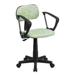 Flash Furniture - Flash Furniture Green and White Zebra Print Computer Chair with Arms - This attractive design printed office chair will liven up your classroom, dorm room, home office or child's bedroom. If you're ready to step out of the ordinary then this computer chair is for you!