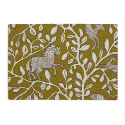 Yellow Modern Animal Motif Custom Placemat Set - Is your table looking sad and lonely? Give it a boost with at set of Simple Placemats. Customizable in hundreds of fabrics, you're sure to find the perfect set for daily dining or that fancy shindig. We love it in this sketched african animal & vine motif in modern mustard yellow. be wild & wonderul!