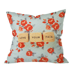 DENY Designs - Happee Monkee Love Your Face Throw Pillow, 26x26x7 - Wanna transform a serious room into a fun, inviting space? Looking to complete a room full of solids with a unique print? Need to add a pop of color to your dull, lackluster space? Accomplish all of the above with one simple, yet powerful home accessory we like to call the DENY throw pillow collection!