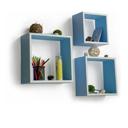 Blancho Bedding - [Powder Blue] Square Leather Wall Shelf / Bookshelf / Floating Shelf (Set of 3) - These square wall cube shelves add a new and refreshing element to your room and can be easily combined with other pieces to create a customized wall space. Coming in various colors and sizes, they spice up your home's decor, add versatility, and create a whole new range of storage spaces. You can hang them on the wall, or have them stand on table or floor, any way you like. Perfect for wall mounting, these modern display floating shelves are sure to delight. Constructed from MDF with a top faux leather wrapping. Fashion forward design has never been so functional. This range of faux leather storage cubes is sure to delight! Easy to mount, easy to love! Attractive shelf boxes give any wall in your home a striking appearance. Arrange in whatever fashion you like - whether it be grouped together or displayed separately. Each box serves as a practical shelf, as well as a great wall decoration.