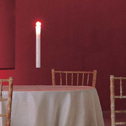"""Ingo Maurer - Ingo Maurer FlyCandle Fly! suspended candle - The Fly candle Fly! suspension light has been designed by George Baldele for Ingo Maurer. The beauty of these candles is that they appear to be flying in the air. The life span of the candle is about 20 hours. The overall height is up to 118"""" (300 cm).   Product description:  The Fly candle Fly! suspension light has been designed by George Baldele for Ingo Maurer. The beauty of these candles is that they appear to be flying in the air. The life span of the candle is about 20 hours. The overall height is up to 118"""" (300 cm).  Minimum of 6 required to place an order. Spare candles are available upon request.  Details:     Manufacturer: Ingo Maurer      Designer:   George Baldele     Made in: Germany   Dimensions:  Width: 1 1/2"""" (3.5 cm) X Height: 12 1/2"""" (32 cm)     Light bulb:: Burns for approx. 20 hours   Material: wax candle , wire suspension"""