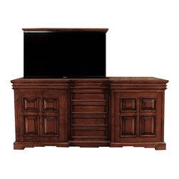 Cabinet Tronix - TV Lift Cabinet Cordova, Made in USA, Pearwood Distressed Finish, 360 Swivel - Cordova TV Lift Cabinet with 360 manual swivel.  Pearwood distressed finish.