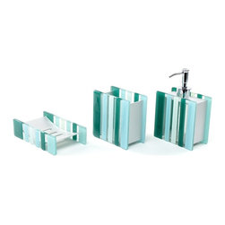 Gedy - Square Green Tumbler Soap Dish and Soap Dispenser, 3 Piece Vi200-07 - Gorgeous bathroom accessory set made from aluminum and glass with a green finish. Set includes toothbrush holder, soap dish, and soap dispenser. Designed in Italy. From the Gedy Viola collection. Comes in a green finish. Made from aluminum and glass. From the Gedy Viola collection. Designed and built in Italy. Included in set:. Toothbrush holder Gedy VI10-07. Soap dispenser Gedy VI81-07. Soap Dish VI11-07.