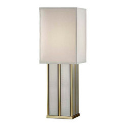 Murray Feiss - Polished Brass / Brushed Steel Lamp - Sleek stacked boxes in brass and silver form the look of a skyscraper, making this lamp feel right at home in modern office spaces. Or place it on a mirrored glass table, throw down a cream shag carpet, and bring instant glamour to your living room.