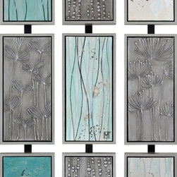 Ren-Wil - Ren-Wil True Fields Wall Art, Set of 3 - A set of three panels hand-painted and set into metal frames makes this sculptural wallpiece featuring small buds and twigs a hint of the spring to come.