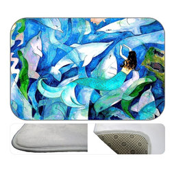 Dolphin Mermaid Deco Plush Bath Mat, 20X15 - Bath mats from my original art and designs. Super soft plush fabric with a non skid backing. Eco friendly water base dyes that will not fade or alter the texture of the fabric. Washable 100 % polyester and mold resistant. Great for the bath room or anywhere in the home. At 1/2 inch thick our mats are softer and more plush than the typical comfort mats.Your toes will love you.