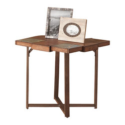 Steve Silver Company - Steve Silver Company Winchester End Table in Elm Veneer Finish - Steve Silver Company - End Tables - WN200E - A smaller square version of the unique cocktail table. Rustic styling with an old-world feel.  This table mixes slate metal and wood for a rare look.