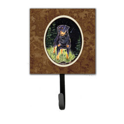 Caroline's Treasures - Starry Night Rottweiler Leash Holder Or Key Hook - The Single Hook Leash Holder measures 4.25 inches wide by 7 inches high. The tile is made from a hardhoard and is mounted to a metal rectangle. The hook hangs down from the metal plate in the back and is about 2 1/2 inches from the base. The hook opens about 1 inch. A hanger is attached to the metal plate and is about 1 1/2 inches long. Lots of room to hang up using a screw or paneling nail. Great for the home or office to hold keys, leashes or just about anything.