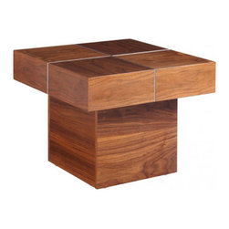 Adds Up Side Table - With its smooth walnut veneer and visually striking aluminum divide, this angular side table adds up to a lot of style with little effort. Its strong, modern lines would look great combined with a curvy ceramic lamp or vase.