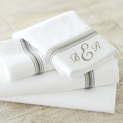 Ballard Designs - Amelie Embroidered Sheet Set - Gray Full - Coordinates with our Amelie Duvet & Bedskirt. Layers well with all of our bedding collections.. Machine washable. The classic white bed accented with a fresh stripe of color. Our Amelie Sheets are sewn of 240-thread count cotton. Add a monogram to the Pillowcase and Flat Sheet for a custom look. Amelie Sheet Set features: . .  *Monogramming available for an additional charge.*Allow 3 to 5 days for monogramming plus shipping time.*Please note that personalized items are non-returnable.