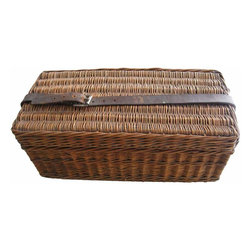 Wicker Stationary Basket - This is a unique little wicker basket for organizing your writing materials and stationary. It folds open to give you a hard writing surface and then closes up and a leather strap keeps it secure and is also a carrying handle.