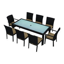 Harmonia Living - Urbana 9 Piece Modern Patio Dining Set, Beige - Lifelong memories are made sitting around an outdoor dinner table, chatting by candlelight. You'll be able to enjoy this table and chairs for years, thanks to corrosion-resistant aluminum frames, durable resin wicker and Sunbrella® cushions. The table is topped with frosted, tempered glass, pre-cut hole for an umbrella, so you can host brunch, lunch or cocktails, too.
