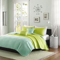 ID-Intelligent Designs - Intelligent Design Lillian Coverlet Set - Update your space to a splash of color with the Intelligent Design Lillian Coverlet Set. The bright citron green and pop of teal work as the perfect combo while pickstitching gives a modern approach to the everyday coverlet.