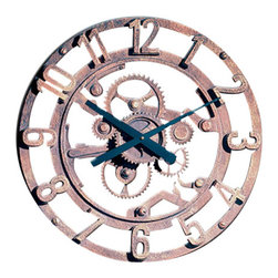 """Factory Direct Wall Decor - Arabic Gear Wall Clock - The Arabic Gear Clock is an beautiful industrial feel wall clock. This is a 22""""W x 22""""H x 3"""" in Depth wall clock. This item weighs approximately 10 lbs, and requires one AA battery."""