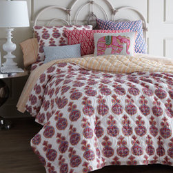 "John Robshaw - John Robshaw Twin Fitted Sheet - Printed with a stylized botanical design in soft tangerine, potter's pink, and light indigo, quilted cotton voile ""Danda"" linens are the foundation of this John Robshaw collection featuring hand-stitched detailing. Imported. ""Danda"" quilts and shams ha..."