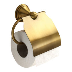 Gedy - Bronze Toilet Roll Holder With Cover - Decorative, vintage style toilet roll holder/toilet paper holder with cover.