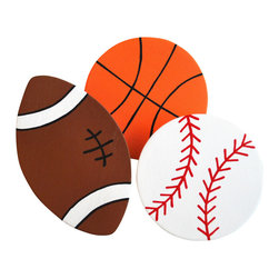 "Little Elephant Company - Sports Balls Quilt Clips set of 3 - Baseball, Basketball, Football - Beautiful quilt clips that transform your treasured baby quilts and comforters into charming hanging artwork for your child's room.    Very easy to use.  ***  This listing is for a set of three (3) hand painted sports ball quilt clips. A baseball in white with red stitches, a basketball in orange with black lines, and a football in nutmeg with black and white.    These quilt clips are perfect for sports themed bedding sets.    Measurements are:  - baseball 3.25 inches  - basketball 3.25 inches  - football 4.5 in. x 2.75 in.    How many quilt clips do I need?  - For a quilt that is still stiff and new, you will only need 2 quilt clips for up to 36 inches wide. Many people will do 3 quilt clips just for the look, though. For a quilt that has been washed and is pliable, 2 clips will be sufficient for up to 36 inches, but you may want 3 clips to help keep the center from sagging. For a quilt 36 to 42 inches wide, use 3 to 4 clips. For a quilt 42 to 50 inches, use 4 to 5 clips.    How do the quilt clips work?  - The only hardware is needed is a long nail, approximately 1 1/2"" to 2 1/2"" in length.  - Measure how far apart you would like the clips to be.  - Decide how high on the wall they will be placed and mark your first spot. Using a level, measure out and mark the second spot.  - Place your nails into the wall at a 45 degree angle. IMPORTANT: If your nail is not at a 45 degree angle, the clip may slip off the nail.  - Clip the quilt and slide the back of the clip over the nail.    What are the clips made of?  - Designs are made of layered wood. A few of our designs also have layered felt.   - Clips on the back are a sturdy plastic so as not to damage your fabric."