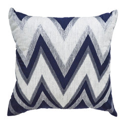 "Bandhini - Zig Zag Navy Medium Throw Pillow - This contemporary throw pillow pops with eye-catching allure. On natural cotton, embroidered linen shades of blue and gray form a dazzling zigzag print. 18""W x 18""H; 100% linen and 100% raw cotton; Dry clean; Grey goose down fill insert included"