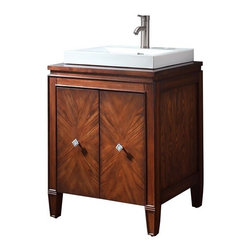 AVANITY BRENTWOOD 25 in. Bathroom Vanity - The Brentwood Collection features a new luxurious walnut finish with a transitional styling that would compliment any bathroom. Hand-crafted out of solid poplar wood and elm veneers, wood-matched design soft-close doors and antique nickel door knobs.