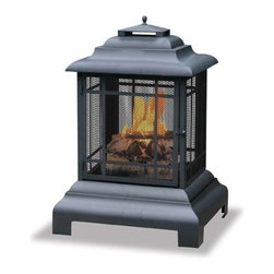 """Uniflame - Large Black Outdoor Firehouse """"Belmont"""" - * Attractive Black Powdercoat. Makes for easy tending. For Outdoor use. 24.5 in. W x 40.5 in. H"""
