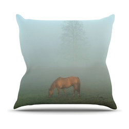"""Kess InHouse - Angie Turner """"Horse in Fog"""" Blue Mist Throw Pillow (Outdoor, 18"""" x 18"""") - Decorate your backyard, patio or even take it on a picnic with the Kess Inhouse outdoor throw pillow! Complete your backyard by adding unique artwork, patterns, illustrations and colors! Be the envy of your neighbors and friends with this long lasting outdoor artistic and innovative pillow. These pillows are printed on both sides for added pizzazz!"""